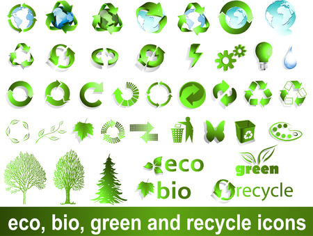 Eco, bio, green and recycle symbols Illustration
