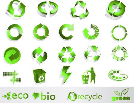 Eco, bio, green and recycle symbols Vector