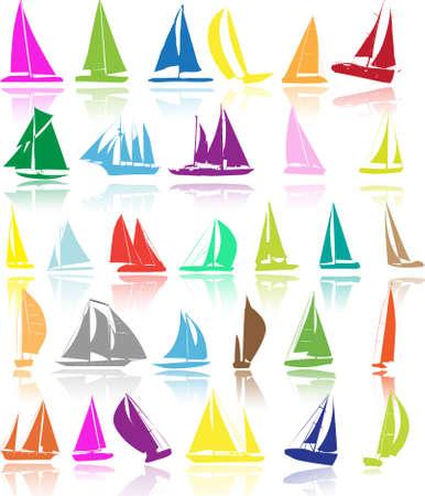 deportes nauticos: Siluetas de los barcos Vectores