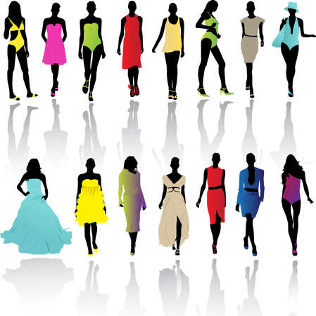 Models on fashion runaway Vector