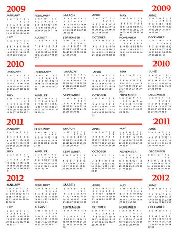 Calendar, New Year 2009, 2010, 2011, 2012 Vector