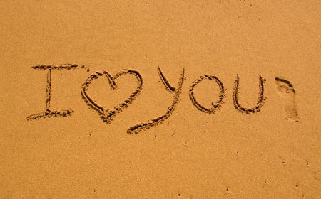 i love you: I love You in the sand