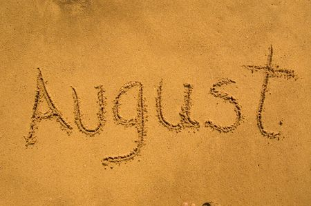 Month August in the sand photo