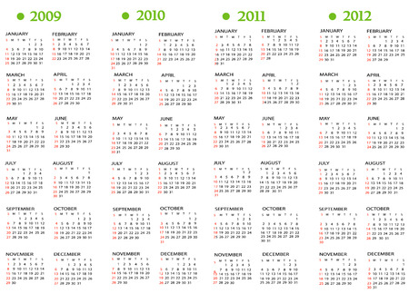 periods: Calendar, New Year 2009, 2010, 2011, 2012