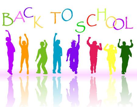 silueta ni�o: Volver a la escuela