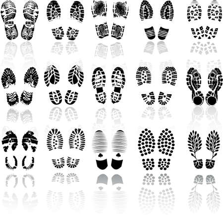 dirty feet: Vector illustration of various shoe print