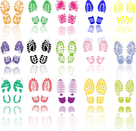 Vector illustration of various color shoe print