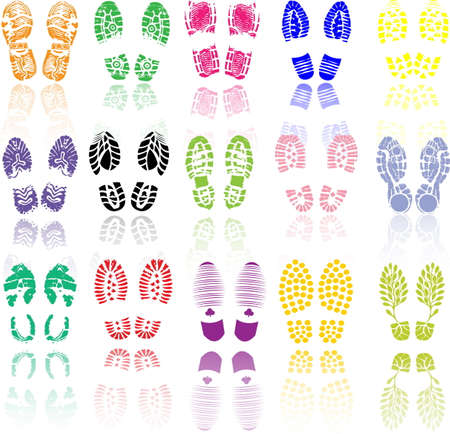 authenticate: Vector illustration of various shoe print