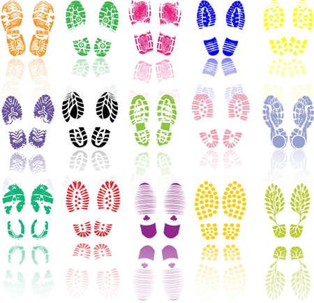 shoe print: Vector illustration of various shoe print