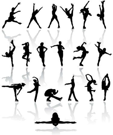 Figure  skating silhouettes Stock Vector - 5601316