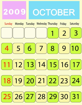 Calendar of month October 2009 일러스트