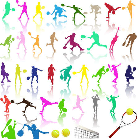 color match: Silhouettes of tennis player