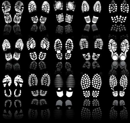 dieven: Vector illustratie van de verschillende schoen print
