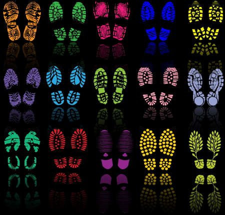 huellas pies: Ilustraci�n del vector de la impresi�n de zapatos distintos Vectores