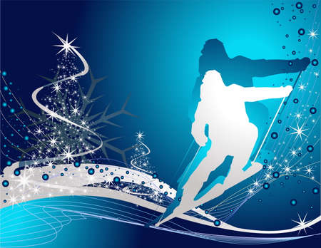 mountain skier:  Ski sport background