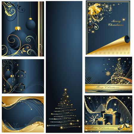 januar: Frohe Weihnachten und Rutsch Sammlung Illustration