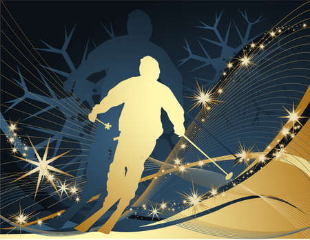 Ski sport background Vector