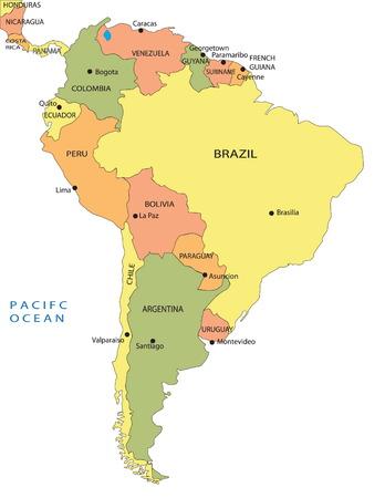 southwest: Politieke land kaart van Zuid-Amerika Stock Illustratie