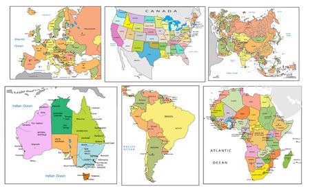south east asia: Mappa politica dei continenti