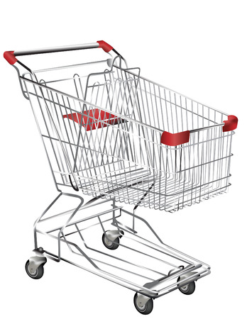 shopping trolley: Metal shopping trolley isolated on white Illustration