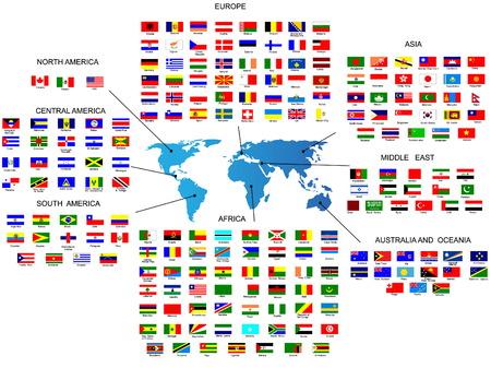 Flaggen und Wappen der alle Länder in der Region der Welt Vektorgrafik