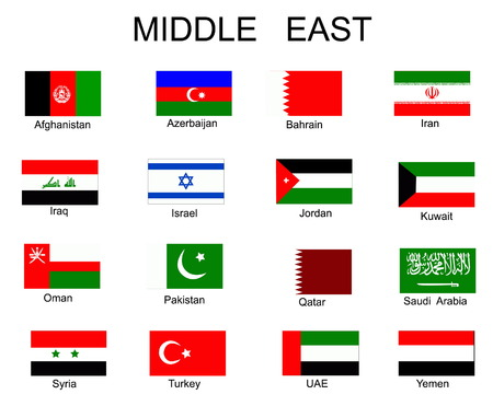 List of all flags of Asian countries Vector