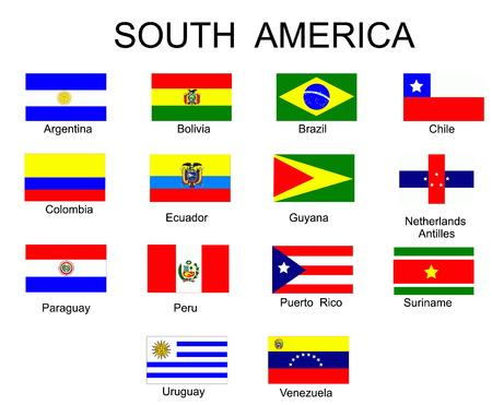 �south: Elenco di tutte le bandiere dei paesi del Sud America Vettoriali