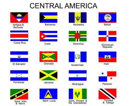 america centrale: Elenco di tutte le bandiere dei paesi dell'America centrale Vettoriali