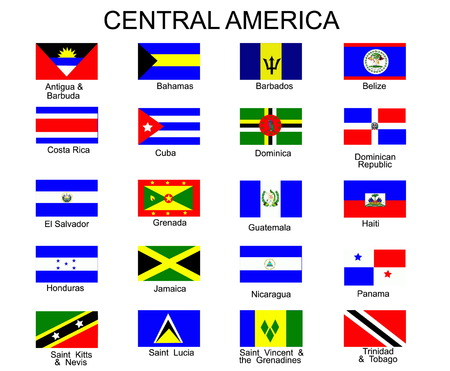 List of all flags of Central America  countries Vector