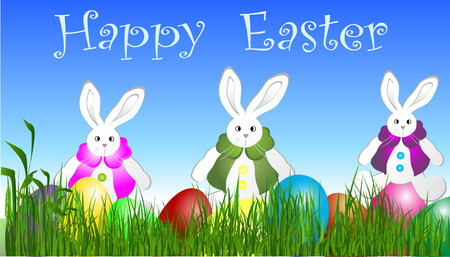 Eastern eggs  on the grass  with three rabbits   Vector