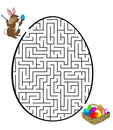 Rabbit is looking for the eggs Vector