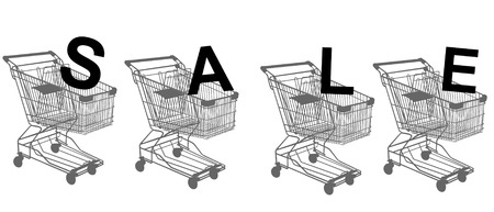 supermarket checkout: Metal shopping trolley isolated on white Illustration