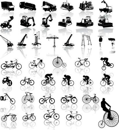 camion grua: Ilustraci�n vectorial de bicicletas y veh�culos de construcci�n  Vectores