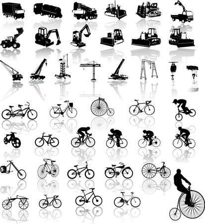 construction crane: Vector illustration of bicycles and Construction vehicles Illustration