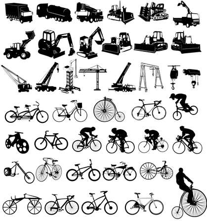 Vector illustration of bicycles and Construction vehicles Illustration