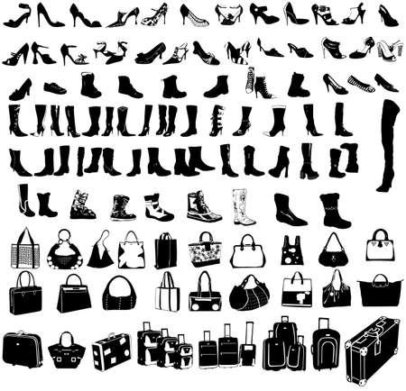 baggage: Reisen-Koffer, Schuhe und Taschen-Vektor Illustration