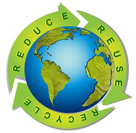 contaminacion ambiental: Medio ambiente limpio - conceptual de reciclaje de s�mbolo Foto de archivo