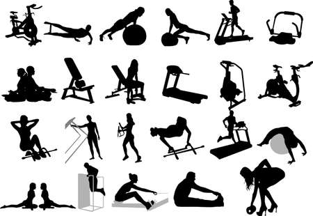 physical fitness: illustration of fitness silhouettes