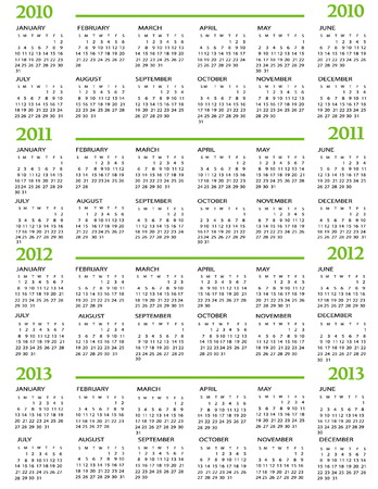 daily planner: Calendar, New Year  2010, 2011, 2012, 2013