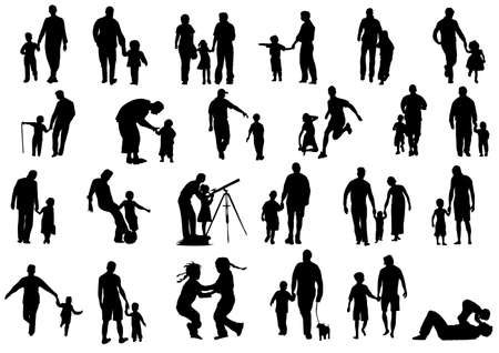 art activity: Happy family collection vector