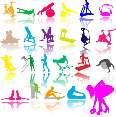 exercise ball: Vector illustration of fitness silhouettes