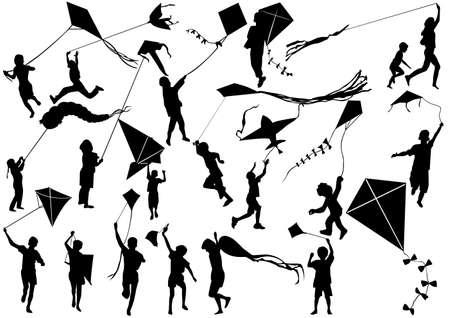 凧: 凧と子供  イラスト・ベクター素材
