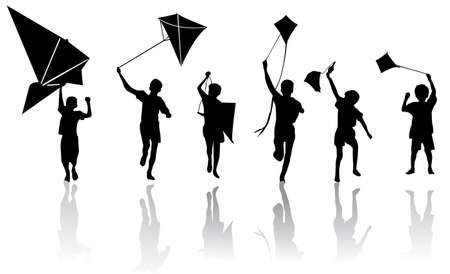 float fun: Children with kite  Illustration