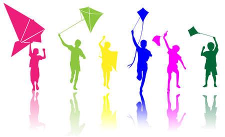 deslizamiento: Ni�os de colores con kite