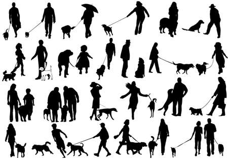 dog on leash: Ilustraci�n de las personas con perro