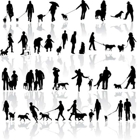 illustration of people with dog Stock Vector - 7023608