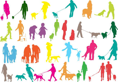 illustration of people with dog Stock Vector - 7023615