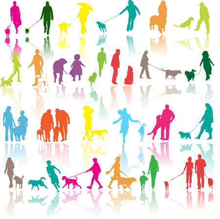 illustration of people with dog Stock Vector - 7023618