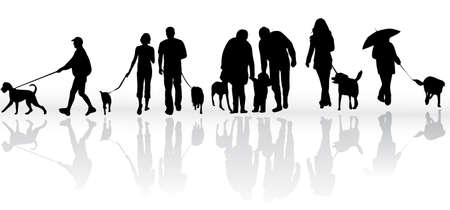 illustration of people with dog Vector