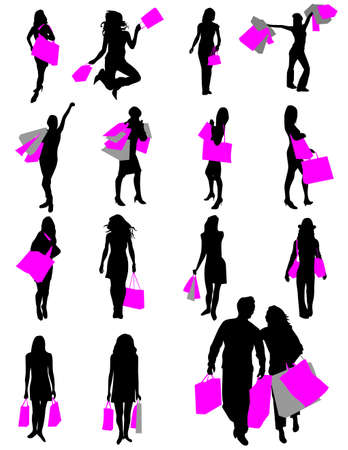 Silhouettes of girls in shopping Vector